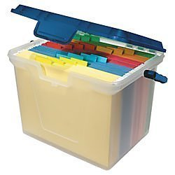 Portable file box for storing school papers