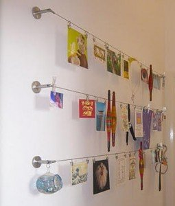 pictures displayed on dignitet curtain wire from ikea