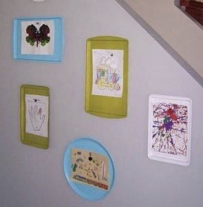 Kids' art displayed on trays