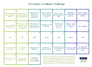 December Gratitude Challenge Calendar with prompts