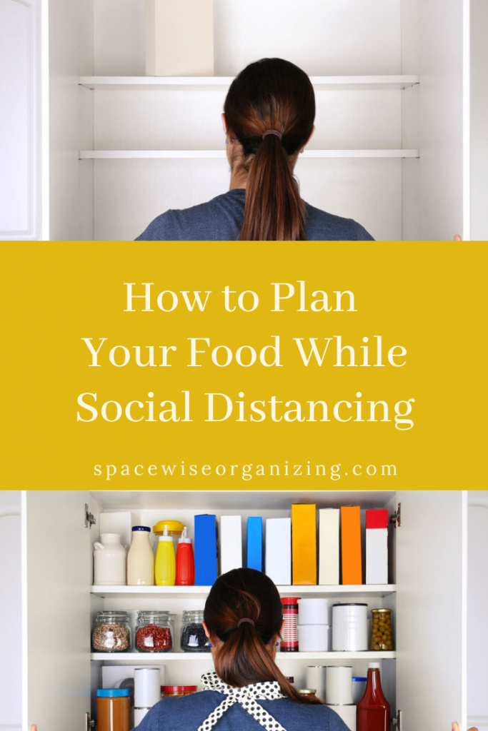 an empty and a full pantry separated by planning while social distancing