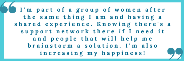 This is a testimonial from a happiness group member.